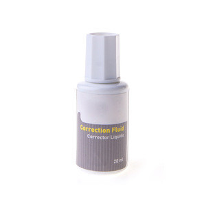 Wholesale 30ml white colored colored correction fluid with brush tip
