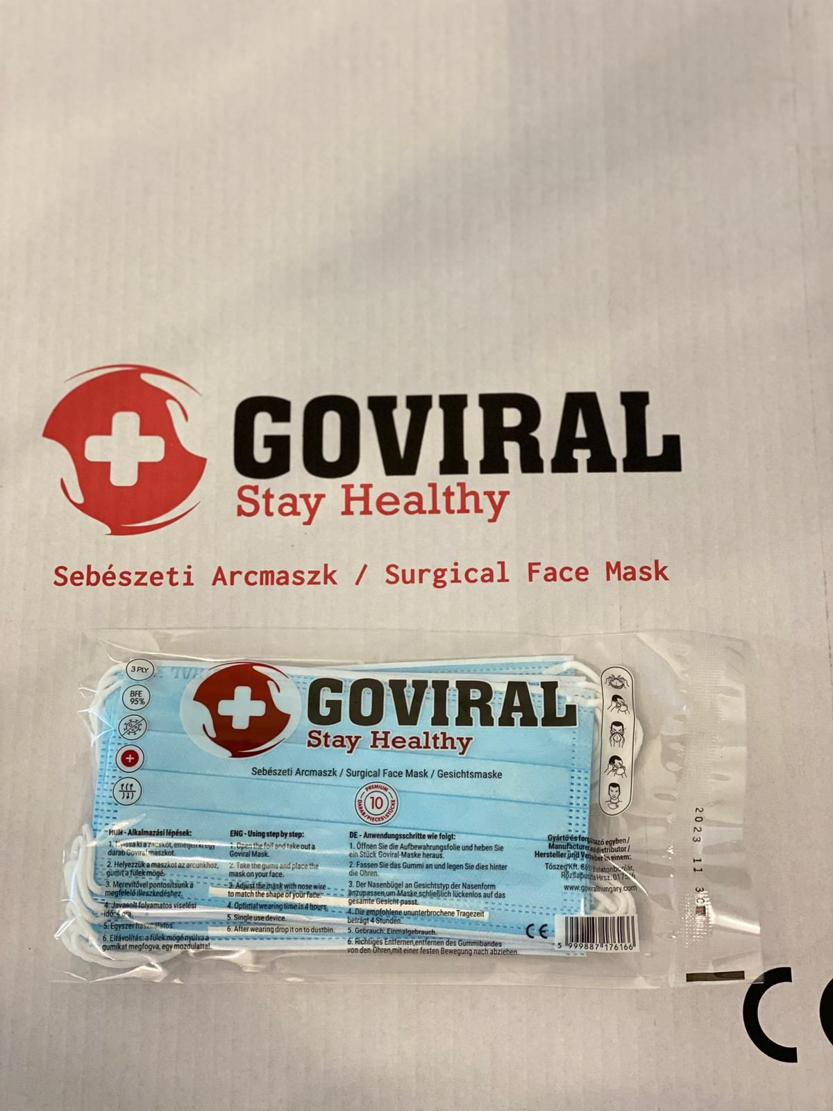 Goviral Surgical/MEDICAL Face Mask 3PLY 10PCS MADE IN EU!