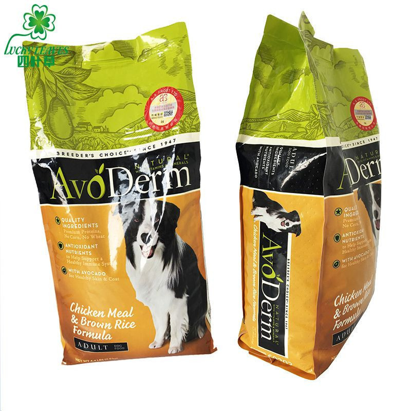 Customized print dog food packaging bags ONY/PE material side gusset quad sealed composite bag