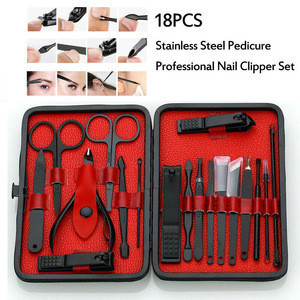 18 pcs stainless steel nail clippers manicure pedicure care tools kit in grooming Travel Case