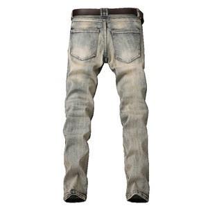2017 men stretch skinny denim jean zipper sik blue jeans,wholesale men biker jean