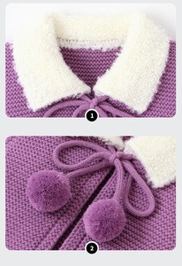 2020 Newest Fur Vest Fashionable Sleeveless Baby Coat Winter Purple Sweater Vest for Kids with Bow