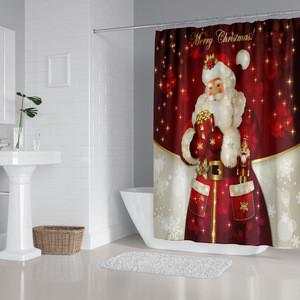 Christmas santa bathroom fabric shower curtains, waterproof bath curtain 4pcs a set