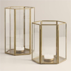Clear Glass and Metal Faceted Hurricane Lantern