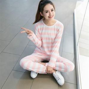 Fashion Thin Long Sleeve Trousers Wheat Spike Woman Cute Cartoon Dogs Pattern Milk Silk Pajamas