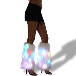 Faux Fur Furry Fluffies Flashing Light Up Leg Warmers Led Dance Costume For Christmas Rave