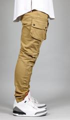 High quality custom made biker jeans wholesale slim fit denim mens/ DENIM Camel Cargo Slim Tapered Pants