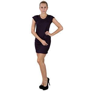 High quality slim fit black nylon cotton formal dress