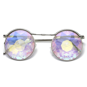 Luxury Metal Frame Shiny Crystal Glasses Fashion Party Kaleidoscope Glasses For Girls