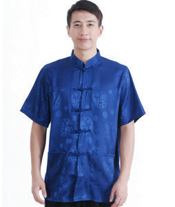 Men Short Sleeve Shirt Chinese Traditional Clothing Tang Suit Mandarin Collar Top