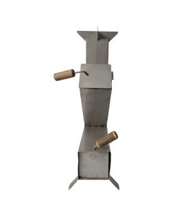 Portable Cooking Silver Stainless Steel Rocket Stove with No Smoke