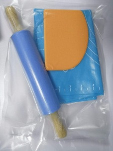 Reusable Soft Silicone Rolling Cut Mat Fondant Clay Pastry Dough Cake Tool, Silicone Rolling Pin, Dough Scraper