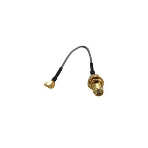 RF Coaxial 1.37mm Jumper Cable Assembly with Waterproof SMA Female Bulkhead to MMCX Male Right Angle Crimp Connectors