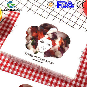 Supermarket popular custom printing snacks packing bags salad lunch fried chips egg tart hamburger box low price best quality