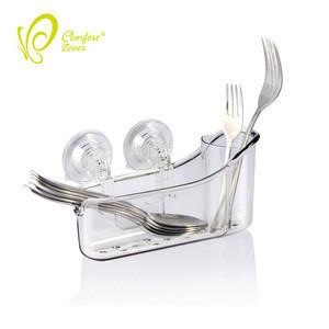Transparent suction cup kitchen organizer storage rack utensil holder