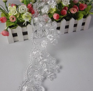 Wedding lace trimming, white embroidery flower lace