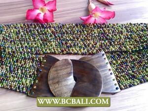 Wooden organic buckle beads belt handmade stretch for women