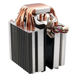4Pin CPU Cooler 1155 1156 AVC Pure Copper 6 Heat Pipe Single Cooling Fan Support Intel AMD
