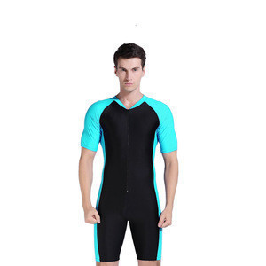 Adult One-Piece Surfing Suit Mens Short-Sleeve Swimwear Sun-Proof Quick-Dry Jellyfish Wetsuit