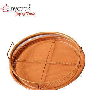 Anycook 2 Piece Copper Crisper Potatoes Chips Fried Chicken Tray pan Meat Oil Filter Basket Barbecue BBQ Basket Rack