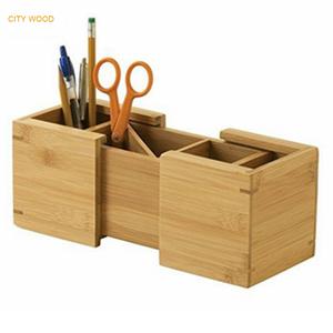 Bamboo expandable storage box desktop organizer