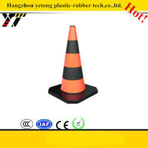 Black rubber Traffic safety plastic cones