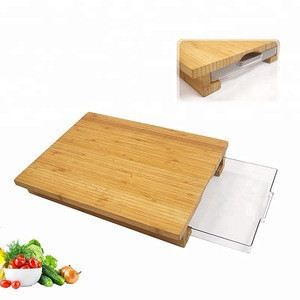 China Factory Natural Bamboo Cutting Boards With Plastic Food Drawer/Tray Creative Wood Chopping Board Set