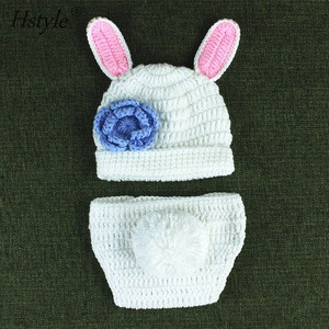 Cute White Rabbit Style Baby Infant Newborn Hand Knitted Crochet Hat Costume Baby Photograph Props Set A063
