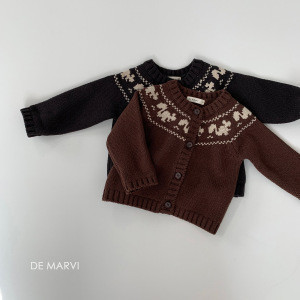 DE MARVI Toddler Infant Knitted Cardigan Sweater with Button Autumn Winter Clothes MADE IN KOREA