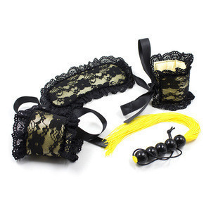 Lace BDSM bondage restraints kit handcuffs and eye mask made in China