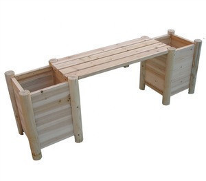 Natural Log Wood Bench With Side Planters