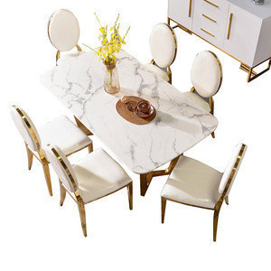 Import New Model Designs Luxury Gold Stainless Steel Frame 6 Seater Chairs Mirrored Marble Stone Dining Room Furniture Table Set From China Find Fob Prices Tradewheel Com