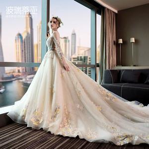 Newest U-Neck gorgeous lace luxury long sleeve wedding dress with long trailing