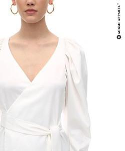 WHITE SATIN MINI WRAP DRESS