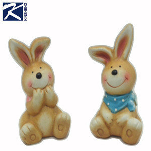 Wholesale Rabbit-shaped Ceramic Cartoon Statue for Garden Decoration