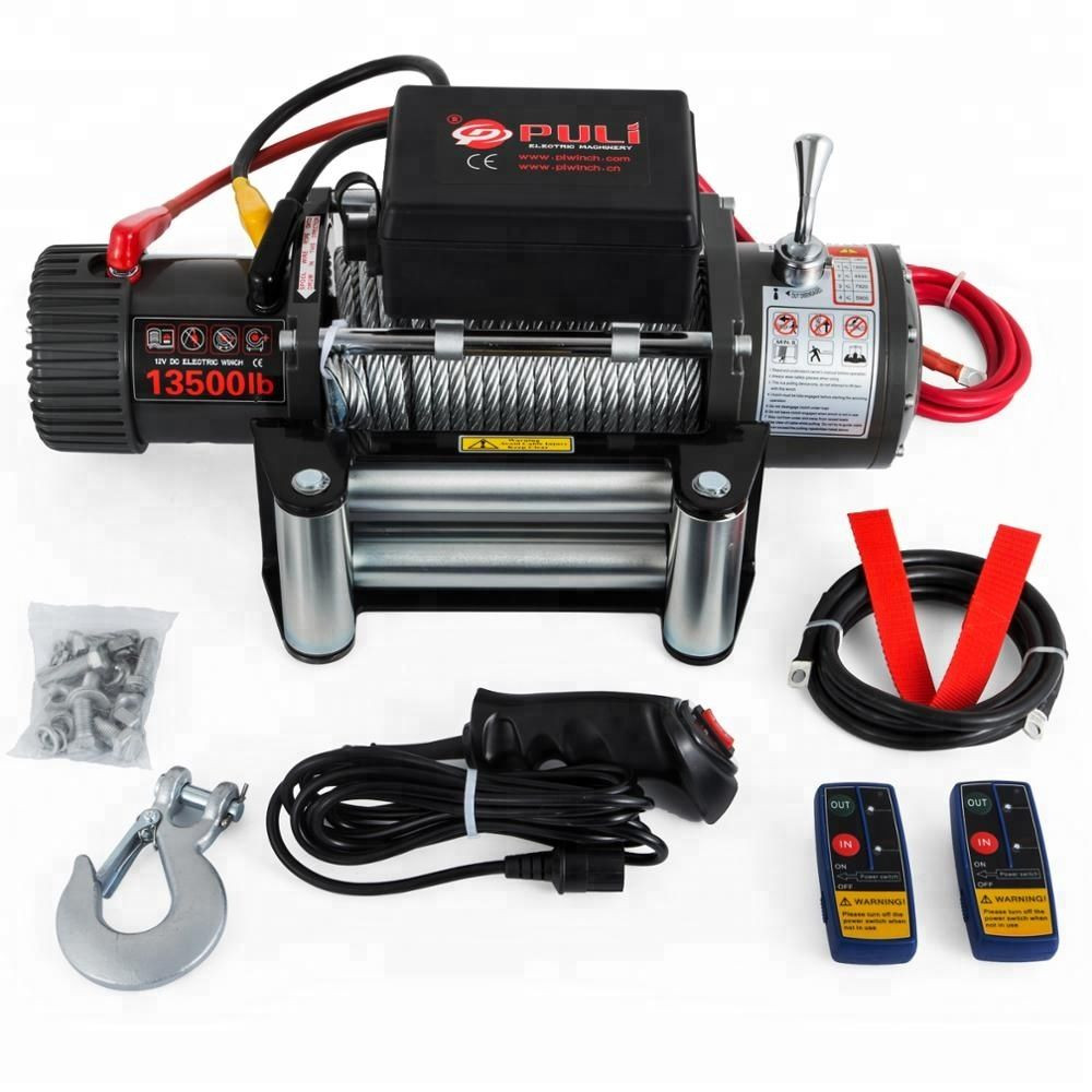 12v 4x4 13500lb - Steel Cable Electric Recovery Winch - Two Remote Controls