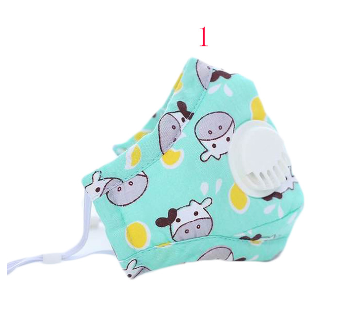 Anti -dust Reusable Kids Cotton Face mask with valve /Washable Kids Cotton face mask with valve