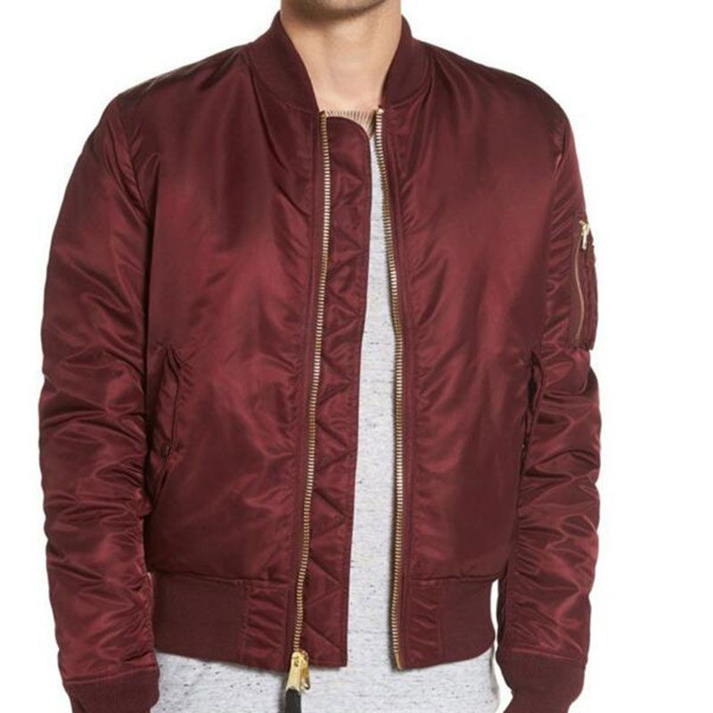 Custom 100% Polyester Solid Wine Red Color Plain Padded Bomber Jacket Men