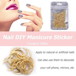 200pcs Nail Art Metal Charms Gradient Gorgeous DIY Manicure Copper Glitter Stickers Decorations