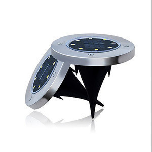 4 LED Disk Light Solar Powered Solar Ground Lights Outdoor Inground Solar Lights for Landscape