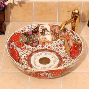 Beautiful European Retro Style Round Ceramic Countertop Bathroom Wash Basin For Hotel
