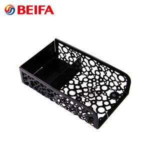 Beifa Brand DH0015-1 Black Rectangle Shape Office Daily Use Mesh Desk File Organizer Metal Desktop Organizer