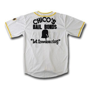 "Chicos Bail Bonds ""let freedom ring"" #3 Team White Baseball Jersey"