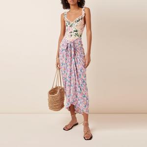 Custom design sheer cotton voile cover-Up pareo sarong wrap for beach