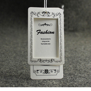 Customized made factory direct sales rectangle hang tag with ribbon