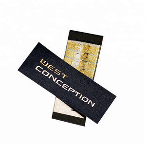 Garment Accessories Custom Centre Fold Satin Polyester Garment Cloth Woven Tag Neck Main Labels for T-Shirt