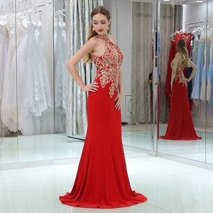 Indian Halter Neck Beading Lace Sleeveless Red Chiffon Sequins Prom Dresses Cheap