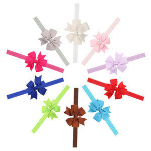 Ready to ship children swallowtail bow hairband baby elastic head band baby hair accessories wholesale