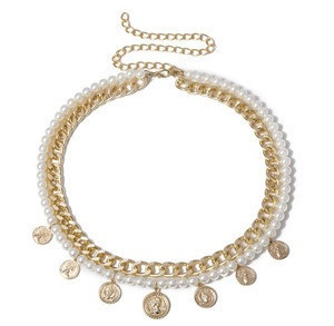 Wholesale fashion women beltsdress accessories pearl chain belt gold coin drop belt for women wedding dress