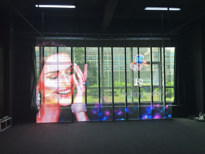 P3.91 Transparent LED Display Screen For Glass Wall and Showcases of Retail Stores